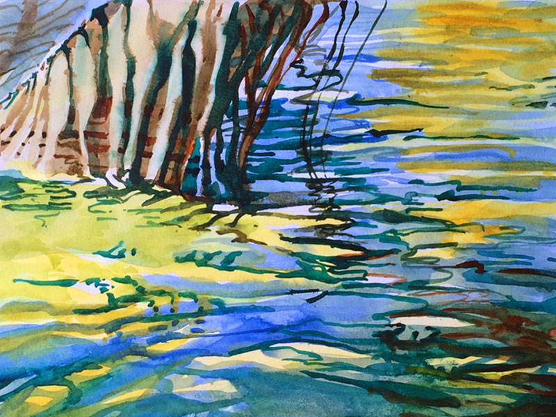 Palm and Water - watercolor, Jan Hart