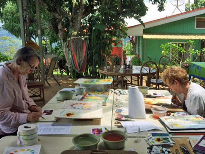 2017 Students painting during an Intensive
