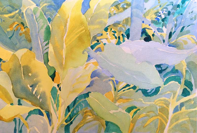 Beach Leaves, Unfinished - watercolor, Jan Hart