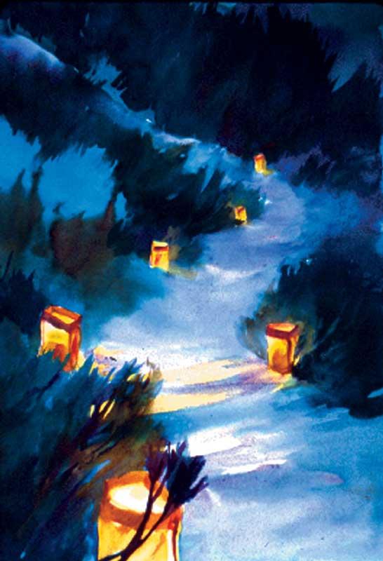 Farolito Pathway - watercolor, Jan Hart, 2004