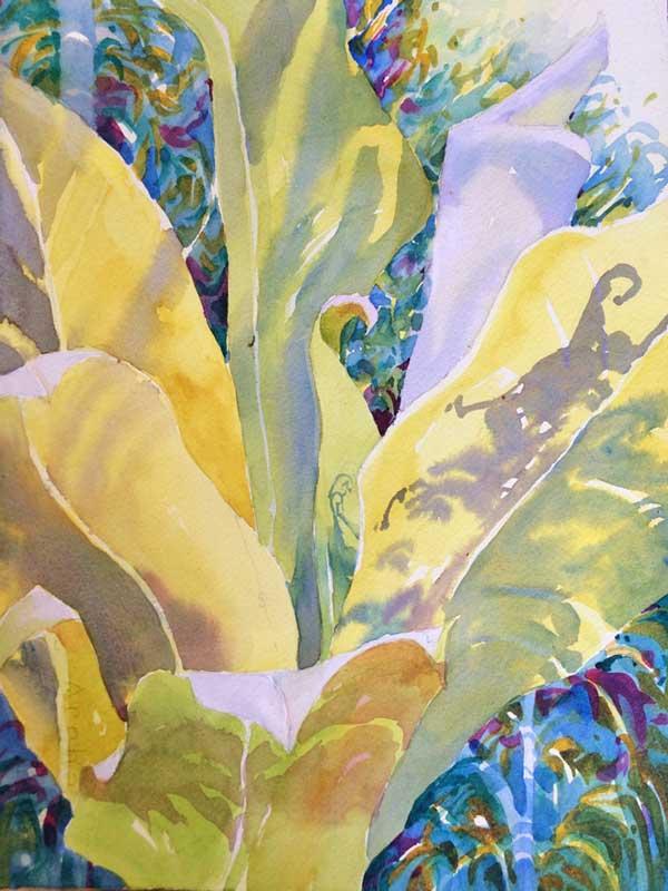 Leaves in Light - watercolor, Jan Hart, 2015