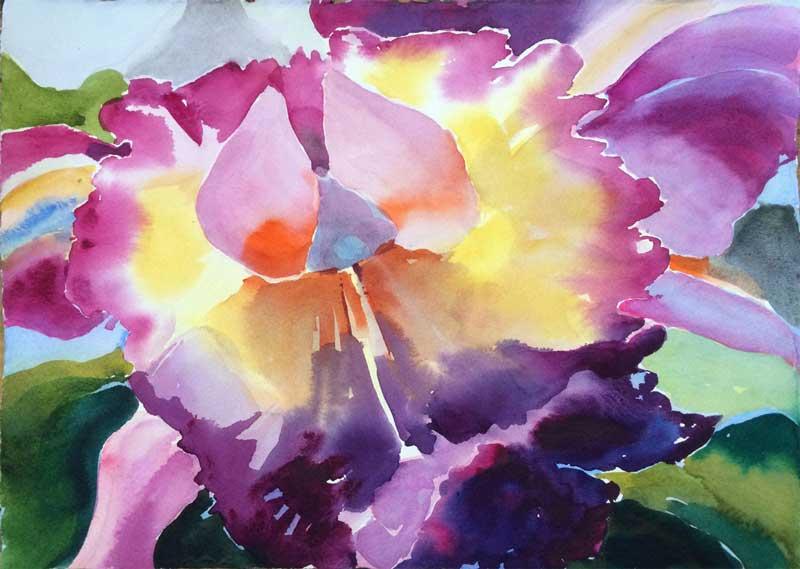 Orchid Pigments 1 - watercolor, Jan Hart