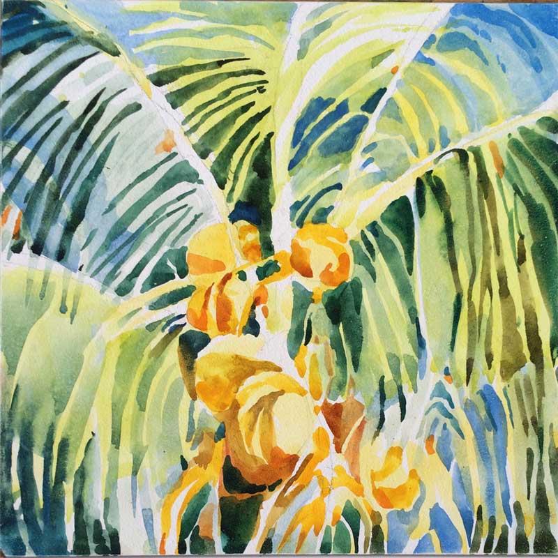 Palm Study - watercolor, Jan Hart, 2015