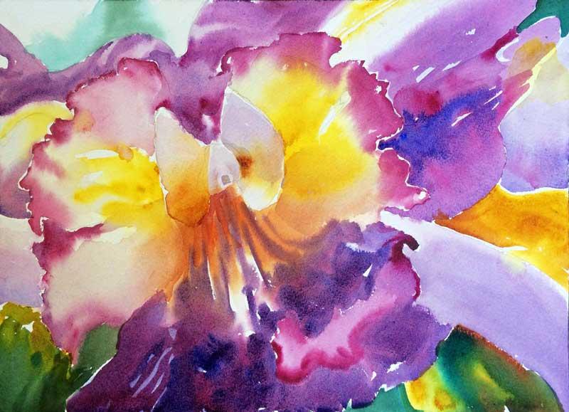 Orchid Pigments 2 - watercolor, Jan Hart