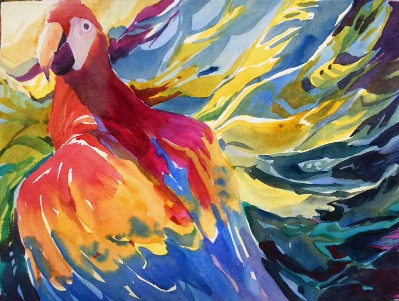 Scarlet Flight - watercolor, Jan Hart