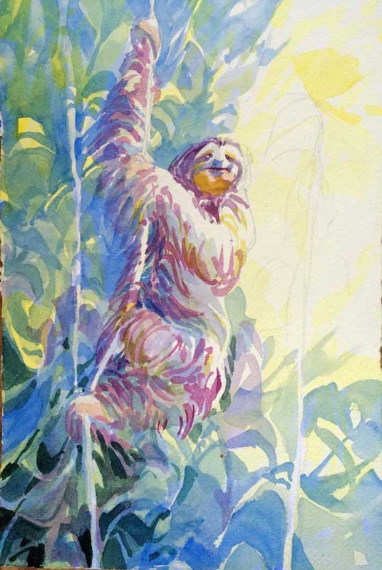 Sloth on Vine, Unfinished - watercolor, Jan Hart