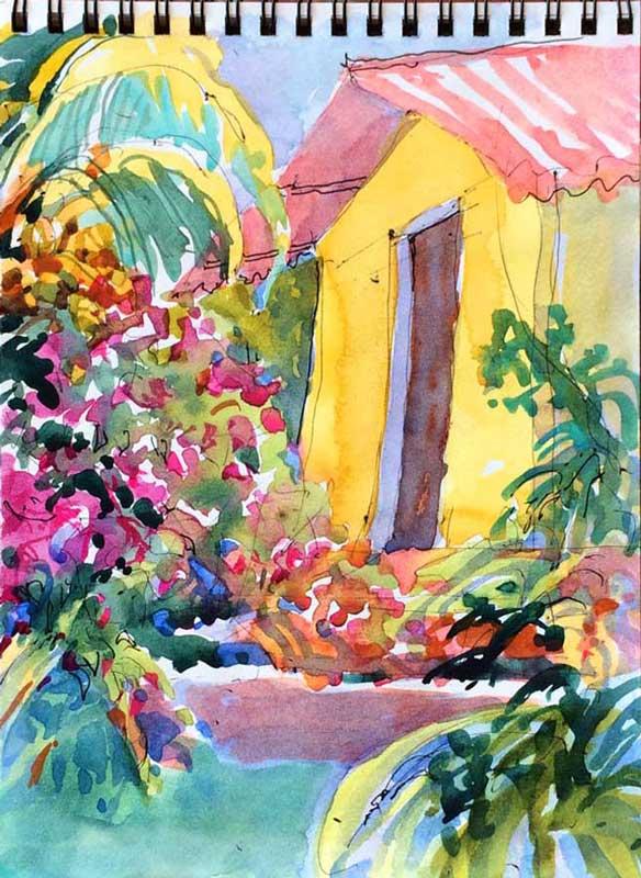 Villa Leonor Sketch - watercolor, Jan Hart